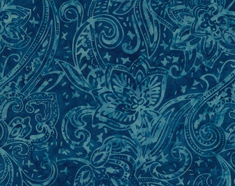 Half Yard Tonga Batik Fabric-Marine Paisley-Blue-Timeless Treasures