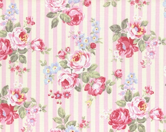 Princess Rose Fabric by Lecien - Stripes and Roses L31264-20 Pink