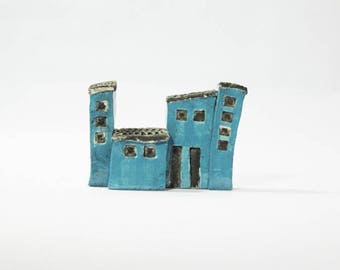 Set of little houses ceramic shape cubic turquoise glaze and matte black