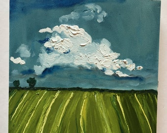 Cloudy Landscape Original Oil Painting Daily Painting