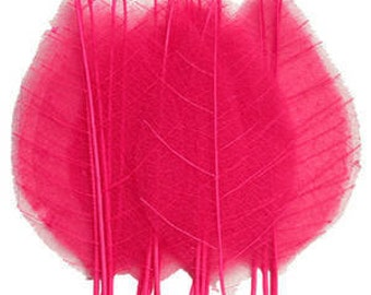 Pressed hot pink leaves 20pcs for art craft card making scrapbooking