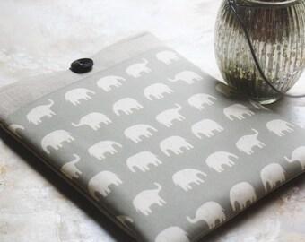 """15"""" MacBook Case, MacBook Sleeve, Laptop Case, Computer Sleeve, Macbook Case with pocket- in Linen and Elephants"""