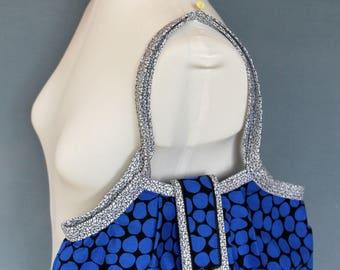 Fabric granny bag - blue black - dots
