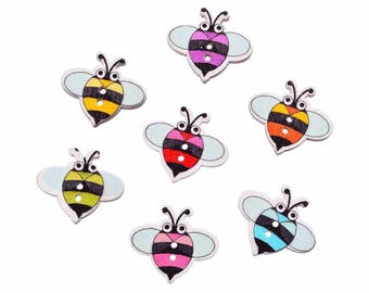 8 multicolored bees painted 1.9 cm - 2 holes wood buttons