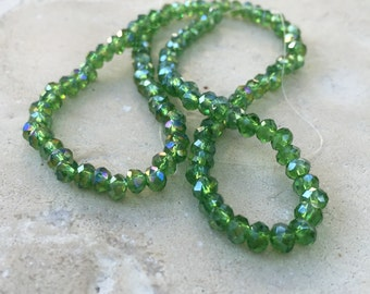 Green Sparkle Beads, 4mm Faceted Rondelles, 12.5 inch strand