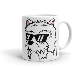 Sunglasses Westie Mug, Funny Westie Gifts, Cute West Highland White Terrier Dog Coffee Cup