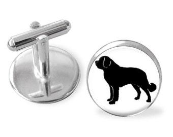 Saint Bernard Dog Breed Portrait Cuff Links or Tie Clip