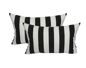 Set of 2 - Black & White Stripe Indoor / Outdoor  Rectangle / Lumbar Throw Pillows