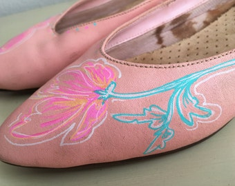 Vintage Flats with Hand painted design