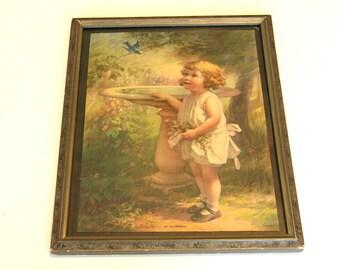 My Bluebird Vintage Print Little Girl Framed