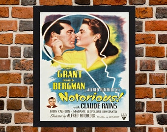 Framed Notorious Ingrid Bergman Film Noir Movie Poster A3 Size Mounted In Black Or White Frame