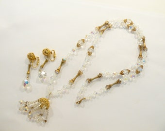 Beautiful High Quality Vintage AB Crystal Sautoir / Tassel Necklace & Earrings