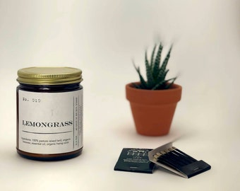 No. 010 Lemongrass Essential Oil 6.5 ounce Candle; Natural Candle; Lard Candle; Organic Beeswax Candle; Essential Oil Candle