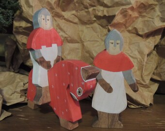 Red Knight and Charger with Squire wooden Waldorf style playset
