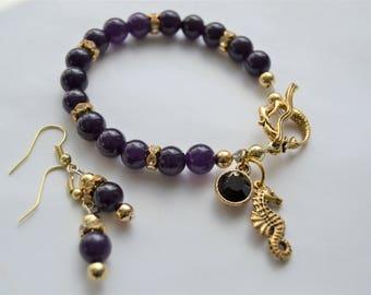 PURPLE JADE Gold Seahorse Charm and Mermaid Toggle Purple Crystal Charm