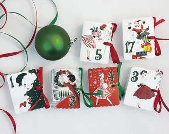 Christmas Advent Calendar Boxes | Mid Century Modern Mad Men Women 50s 60s | Retro Christmas Decorations | Countdown to Christmas 1-25