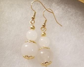 White Jade Earrings, Gold Earrings, Bali Dangle Earrings, White Round Jade, womans gift, Gifts for her