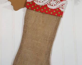 Christmas Burlap Stocking Red With Green Polka Dots Cuff And White Trim