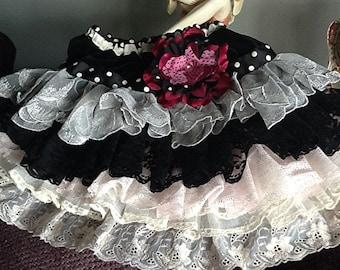 Sample Sale Black, Hot Pink and ivory, pale pink vintage lace ruffled vintage lace skirt One of a kind size 5