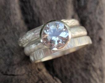 stacking rings handmade sterling silver stacking ring set of 3 natural white topaz gemstone ring twig bark rings wedding bands wedding rings