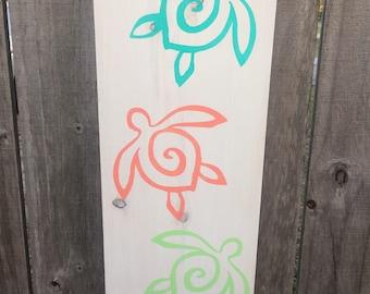 Sea Turtle Trio, Aloha, Beach Decor, Tropical Decor, Wood Sign