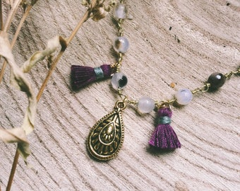 Short purple tassels and mandala pendant necklace