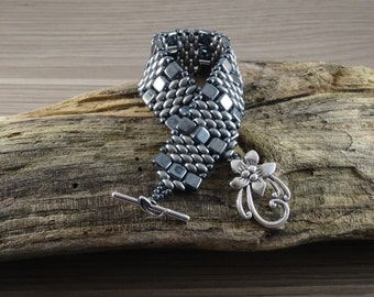 Czech tile and Superduo Bracelet. Grey. Handmade to Order.