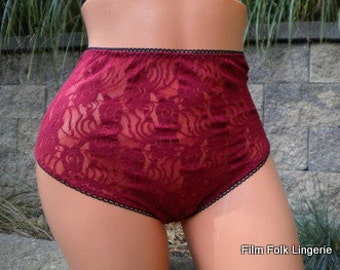 Sheer Deep Red Lace  Full Panties - hand made