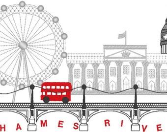 London City Skyline - Stadt-Landschaft - Reise-Maschine Stickerei - Formate und Größen