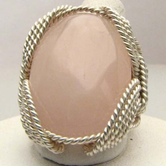 Wonderful Wire Wrap Rose Quartz Sterling Silver Ring