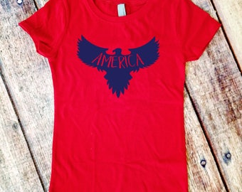 Girls' America Shirt  - 4th of July - Independence Day - Eagle Girls T-shirt