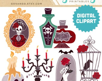 GOTHIC HALLOWEEN Digital Clipart Instant Download Illustration Art Printable Poison Cloche Skulls Goth Candelabra Raven Birdcage Ghost Roses