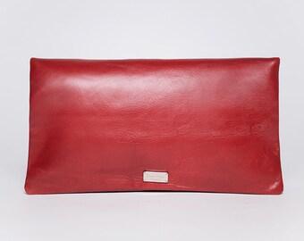 Sac à main pochette Trinity avec bandouilère amovible/ cuir pleine fleur/ rouge sangria # 32