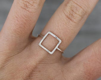 Square ring geometric ring sterling silver ring minimalist ring squared ring stacking ring open ring geometrical ring - amejewels