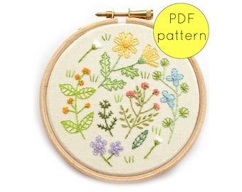 Wildflower Floral Embroidery Hoop Art Pattern Download