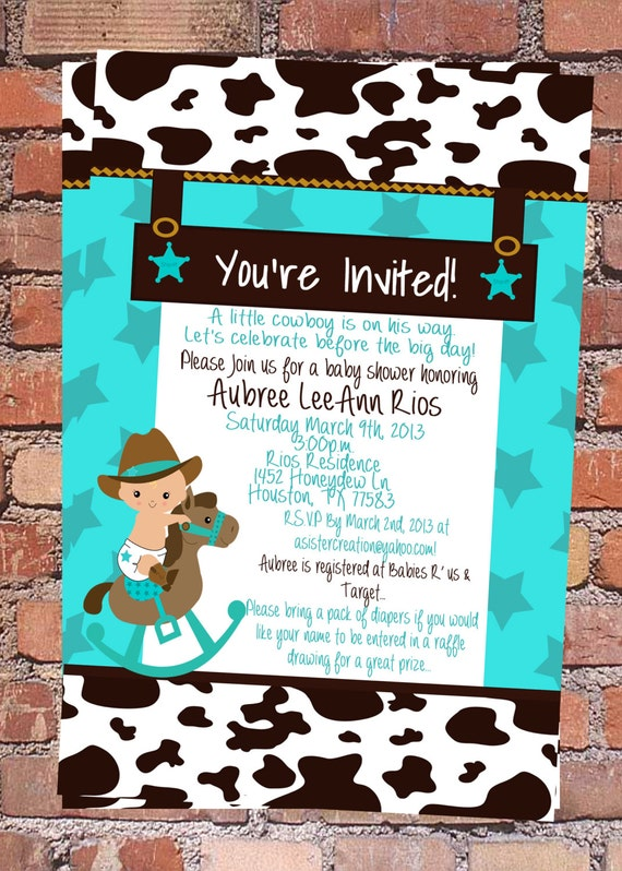 Great Cowboy Baby Shower Invitation | Cowgirl Baby Shower | Western Baby Shower  Invite | Country Western | Little Cowboy