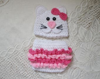 Kitty Cat Crochet Hat and Diaper Cover Set - Photo Prop - Available in 0 to 24 Months - Any Color Combination