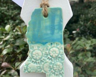 Handmade Mississippi Teal Pottery Ornament