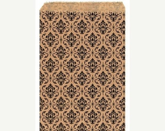Mothers Day Sale 100 Pack 6 X 9 Inch kraft Color Damask print Flat Paper Merchandise Bags