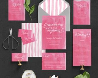 "Printable Wedding Invitation Suite ""Melon"" - Printable DIY Invite, Affordable Wedding Invitation"