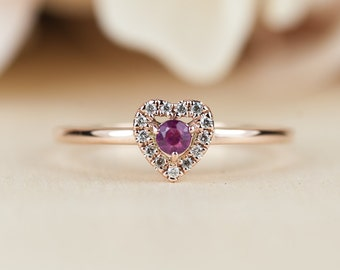 Ruby Heart Engagement Ring, Unique, Conflict Free, Rose Gold, Diamond Halo, Dainty, Low Profile, Push Present, Maid of Honor Gift,
