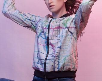"Colorful cotton bomber jacket/Blouson/transition Jacket-women, color splash print, pattern, handmade in Berlin, jacket ""Paint splatter"""