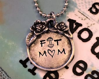 Fit Mom Handstamped Rustic Pewter Pendant Necklace