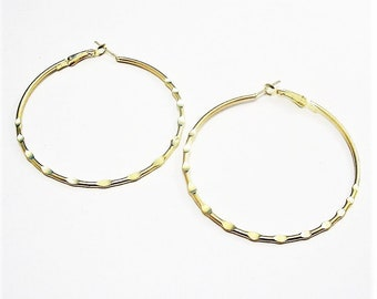 "2 1/4"" Hammered Bottom Hoops Pierced Earrings Gold Tone Vintage Extra Large Thin Rib Open Ring Support Clip"