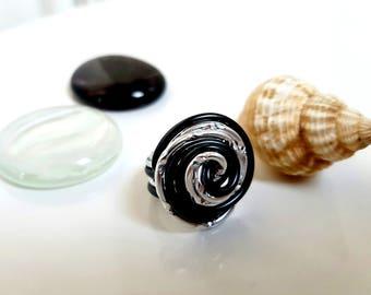 Classic black and silver ring - aluminum - handmade