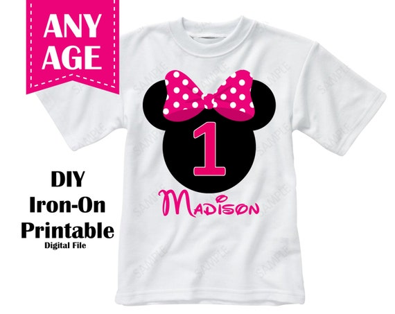 Printable Minnie Mouse Birthday Iron On Transfer Girl Custom