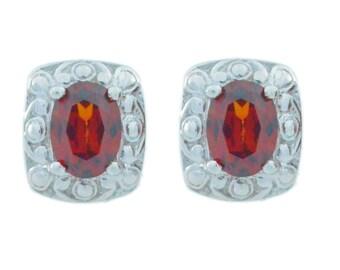 3 Ct Garnet Oval Stud Earrings .925 Sterling Silver
