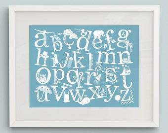 Alphabet Print with Decorative Characters - Nursery Art, Nursery Decor