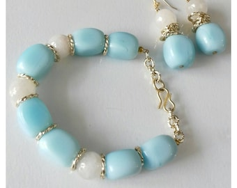 Complete in grey agate and turquoise stones, semiprecious gemstone bracelet, turquoise earrings, grey agate, turquoise stones, jewels