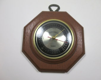 Verichron Wall Barometer Vintage Wood Look Case Weather Instrument MidCentury Wall Decor Barometric Gauge Gift for a Man